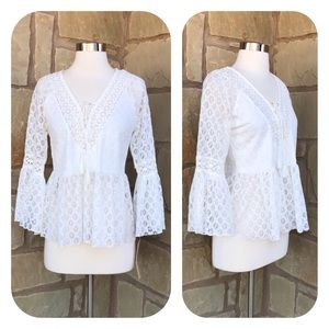 NWT Takara White Lace Up Bell Sleeve Top Size S